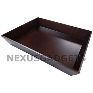 Black Walnut Wood Paper Tray Letter Size classy Home Office Desk Wooden Decor