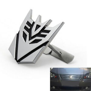3d Metal Car Transformers Decepticon Front Grille Grill Badge Emblem Decals Chr