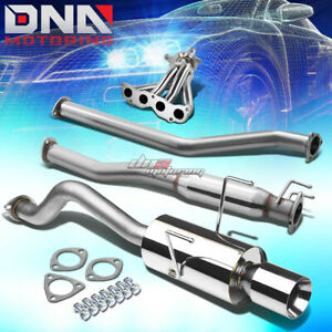 4 Rolled Tip Racing Catback header Manifold Exhaust System For Rsx Dc5 Base l