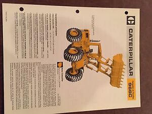 Cat Caterpillar 966c 966 Wheel Loader Brochure Original Antique