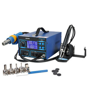 2in1 992da Smd Esd Rework Soldering Station Iron Welder Hot Air Gun 5 Nozzles