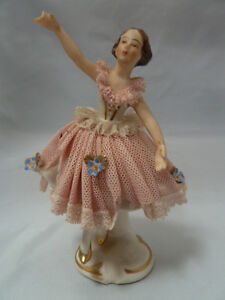Vintage Germany Porcelain Dresden Lace Woman Ballerina In Pink Figurine