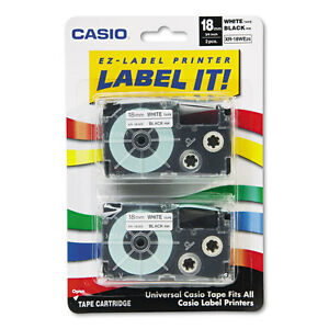 Casio Tape Cassettes For Kl Label Makers 18mm X 26ft Black On White 2 pack