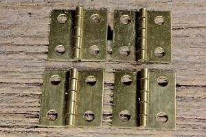 4 Old Door Butt Hinges All Solid Brass 1 X 1 Jewelry Box Vintage Small Little