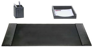 Dacasso Crocodile Embossed 3 Piece Desk Set Black
