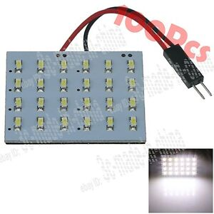100x White Car 24 Smd 3014 Led Panel Light Lamps With T10 Festoon Adapter Zj405