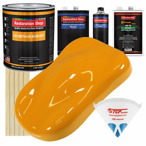 School Bus Yellow Gallon Urethane Basecoat Clearcoat Car Auto Paint Kit