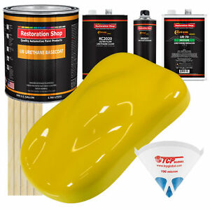 Electric Yellow Premium Gallon Kit Urethane Basecoat Car Auto Body Paint Kit