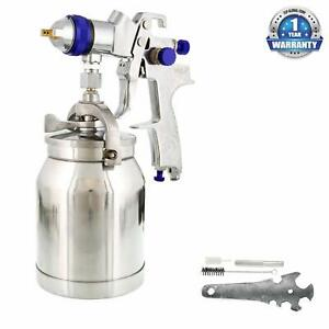 1 8mm Hvlp Suction Feed Spray Gun W Air Regulator Auto Paint Basecoat Clearcoat
