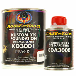 House Of Kolor Quart Kit Black Color Kd3001 Dts Surfacer Sealer W Hardener