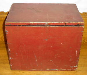 Antique Red Painted Small Wood Box Chest 14 3 4 X 12 X 9 3 4