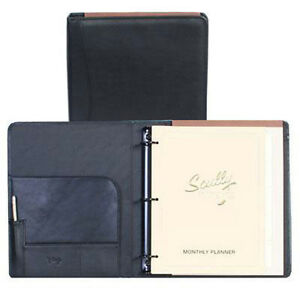 Scully Leather 3 Ring Binder Planner Organizer Black 504611