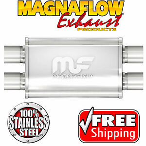 Magnaflow 11378 Muffler Stainless Steel 2 25 Id Dual In Dual Out 4 X 9 Oval 17