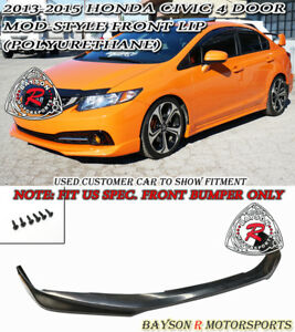 Mod Style Front Lip Urethane Fits 13 15 Civic 4dr Us Spec Only