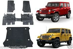 Oem Front Rear Cargo Slush Floor Mats 2007 2013 Jeep Wrangler 4 Door Only New