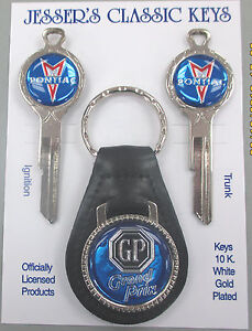 Blue Pontiac Grand Prix Deluxe Classic White Gold Key Set 1967 1971 1975 1979