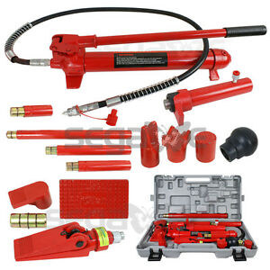 10 Ton Hydraulic Jack Pump Ram Porta Power Frame Repair Body Work Auto