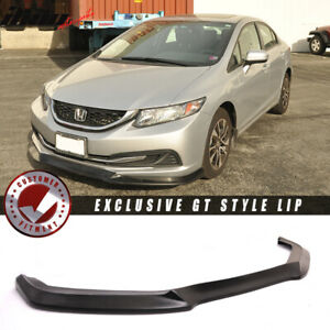 Fits 13 15 Civic Usdm Gt Style Front Bumper Lip Unpainted Pu poly Urethane