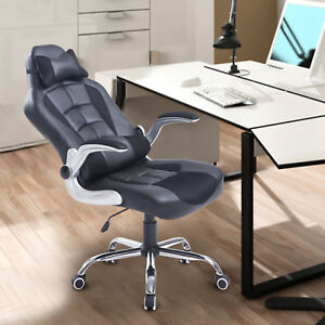 Race Car Style Gaming Office Chair High Back Faux Leather Swivel Recliner