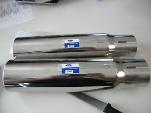 New 1968 1969 Ford Fairlane Torino Cobra Chrome Exhaust Tips Pair Ford Licensed