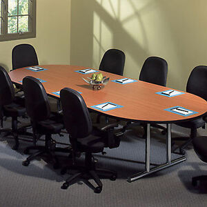 6 10 10ft Conference Table And 8 Chairs Set Office Room Racetrack With New
