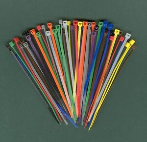 100 4 Inch Long 18 Pound Nylon Cable Ties 10 Colors Zip Tie Ty Wrap Made Usa