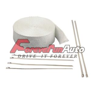 Exhaust Pipe Header Wrap 2 X 50 White With Ties Fiberglass Car Motorcycle