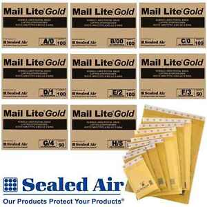Small Large Gold Mail Lite Paper Mailers Bubble Padded Bags Mailing Envelopes