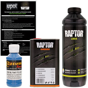 U Pol Raptor Tintable Reflex Blue Spray On Truck Bed Liner Coating 1 Liter
