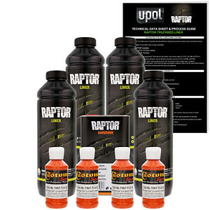 U Pol Raptor Tintable Safety Orange Spray On Truck Bed Liner Coating 4 Liters