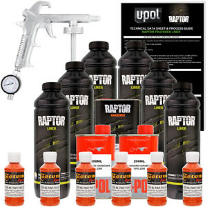 U pol Raptor Tintable Safety Orange Spray on Truck Bed Liner Spray Gun 6 Liters