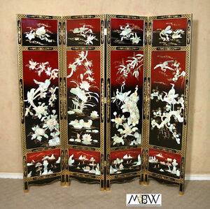 Antique Japanese Red Black Mother Of Pearl Shoji Folding Screen Room Divider A