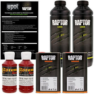 U Pol Raptor Tintable Blood Red Spray On Truck Bed Liner Coating 2 Liters
