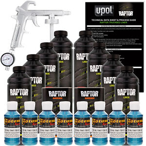U Pol Raptor Tintable Blue Metallic Spray On Truck Bed Liner Spray Gun 8 Liters