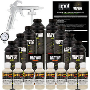 U Pol Raptor Tintable Shoreline Beige Spray On Truck Bed Liner Spray Gun 8 Liter