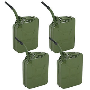 4x Green Jerry Steel Tank Nato Style 5 Gallon Can Oil Fuel Storage New 20 L