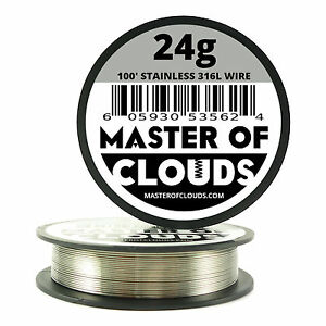 Ss 316l 100 Ft 24 Gauge Awg Stainless Steel Resistance Wire 0 51 Mm 24g 100