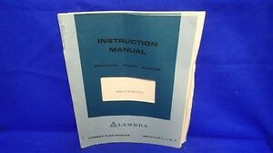 Lambda Lq 531 9563 1 Instruction Manual