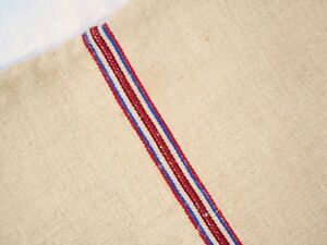 A 19x52 Vtg Antique Red Blue Stripe Hemp Linen Fabric Feedsack Grain Bag A