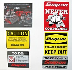 New Genuine Official Snap On Tools 6 Piece Decal Sticker Set 2 Free S H