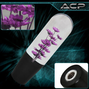 Flower Filled Purple 150mm Clear Poly Style Shift Knob Shifter Jdm Vip Universal