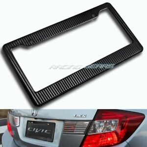 1 X Black Carbon Style License Plate Holder Cover Frame Front Or Rear Universal