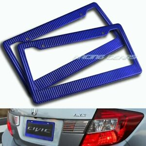 2 X Blue Carbon Style License Plate Holder Cover Frame Front Or Rear Universal 3