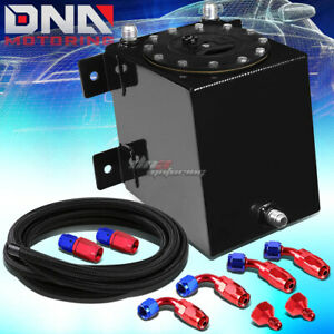 1 Gallon Polished Coated Race Fuel Cell Tank cap level Sender steel Line Kit