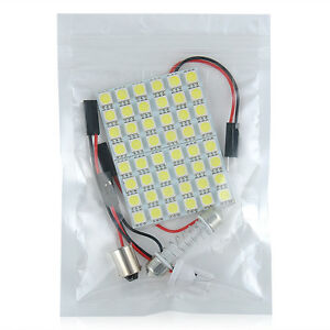 Car Interior 5050 Led White Light 48 Smd Lamp Panel T10 Festoon Dome Ba9s 12v 5w