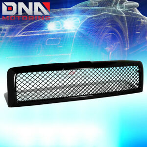 For 94 02 Dodge Ram Glossy Black Abs Front Bumper Upper Mesh Grill Grille Guard
