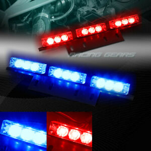 18 Led Red Blue Truck Emergency Hazard Warning Flash Strobe Light Universal 9