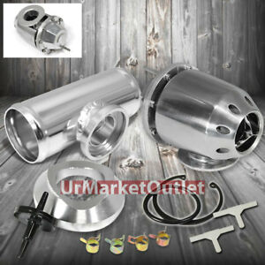 Aluminum Adjustable T 1 Turbo Sqv Blow Off Valve Bov Silver 2 5 Flange Pipe