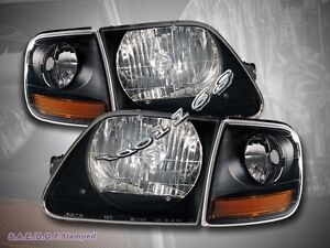 1997 2000 01 02 03 Ford Expedition F150 Black Headlights Corner Lights Black