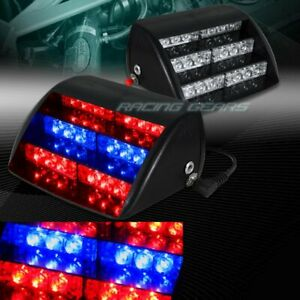 18 Led Red Blue Car Emergency Warning Dashboard Flash Strobe Light Universal 9